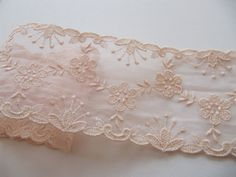 A beautiful vintage pale pastel pink tulle ribbon trim, alencon lace with a very pretty floral design. The ribbon measures inches in width, and is a length of 5 yards. 1940s, Pink Tulle, Pastel Pink, Ribbons, Floral Design, Detail, Pretty, Cotton, Dress