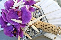 Love the driftwood thingie bouquet hodler! Purple orchids, white finger starfish and pearls Beach Wedding Boutonniere, Beach Wedding Bouquets, Wedding Flower Arrangements, Wedding Bells, Modern Wedding Flowers, Purple Wedding Flowers, Purple Orchids, Beach Flowers, Purple Wedding Decorations