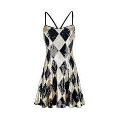 Suicide Squad Short dress (£57) ❤ liked on Polyvore featuring dresses, strappy dress, sequin mini dress, mini dress, sequin cocktail dresses and short white dresses