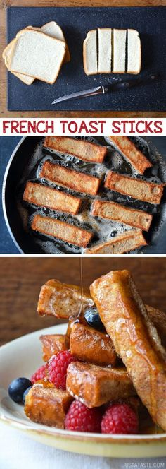 Easy French Toast Sticks (great for dipping!) Kids love these.-- Quick, fast and easy breakfast recipe ideas for a crowd (brunches and potlucks)! Some of these are make ahead, some are healthy, and some are simply amazing! Everything from eggs to crockpot casseroles! Your mornings just got a little better. Listotic.com