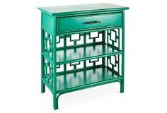 Get this look with Patina Green Milk Paint.  Top it off with HPTC in Semi-Gloss for that nice shiny finish.  Easy peasy!  (One Kings Lane - Furnish Your Bedside - Sobe Nightstand, Emerald)
