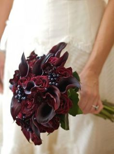 This is my favorite bouquet! love the drama and textures in this deep red bouquet Lily Bouquet Wedding, Calla Lily Bouquet, Bridal Bouquets, Winter Wedding Colors, Fall Wedding, Winter Weddings, Wedding Ideas, Wedding Decorations, Wedding Inspiration