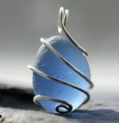 Deep blue sea glass wire pendant