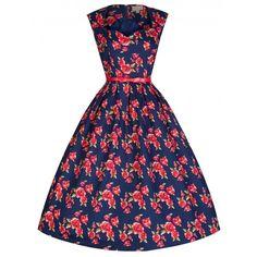 'Scarlet' Romantic Rockabilly Rose Print Vintage 50's Style Dress