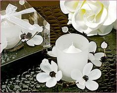 Glass Candle Holder : Elegant Frosted White Glass Flower Candle Holder  $2.99/ea
