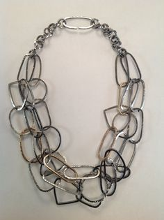 Necklace made with sterling silver square wire and 14k GF 14 gauge wire. Jude Carmona - Jude Designs