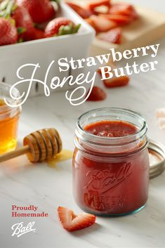 Fresh strawberries sweeten up this delicious honey butter to make the perfect accompaniment to fresh baked biscuits or bread. Ball's Strawberry Honey Butter recipe is simply delicious with bright fresh strawberry flavor sweetened with a drizzle of honey. Strawberry Jam Recipe With Honey, Strawberry Jelly Recipes, Strawberry Butter, Strawberry Preserves, Honey Recipes, Jam Recipes, Canning Recipes, Canning Tips, Cooker Recipes
