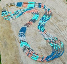 Aztec seed bead multi strand patterned statement by EntwineArt