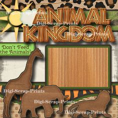 Picture 3 of 4 Disney Scrapbook Pages, Scrapbook Page Layouts, Scrapbook Paper Crafts, Scrapbooking, Zoo Pictures, Homemade Cookbook, Animal Kingdom, Prints, Animals