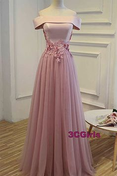 Off shoulder prom dress, pink tulle prom dress, ball gowns wedding dress
