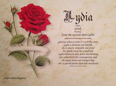 Summer Sale! Use code: SummerSale15 and save 15% thru 7/25/16. Lydia First Name Meaning Art Print-Name by inspirationsbypam. www.etsy.com/shop/inspirationsbypam.