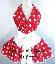Retro Pin Up I Love Lucy Costume Apron with Red and White Polka Dots. $55.00, via Etsy.
