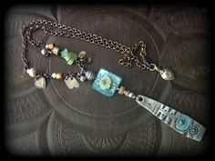 Ancient Roman Glass, Tourmaline, Silver Shield, Kuchi Charm, African Beads, Silver Chain Necklace by YuccaBloom on Etsy