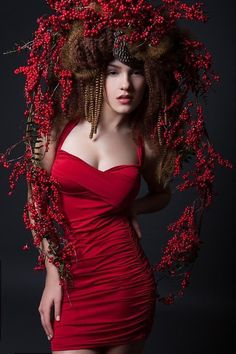 READY TO SHIP Art Wig red berries by PoshFairytaleCouture on Etsy, $239.00