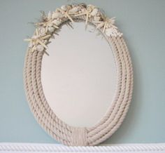 Rope & Shell Mirror Frame from Beach Grass Cottage