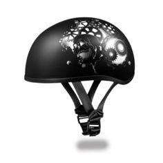 Daytona Gray Metallic Gear Design Skull Cap DOT Motorcycle Helmet comes in solid dull / matte black with a baked in gray gearhead design being the lightest and smallest 1/2 shell DOT motorcycle helmet on the market.