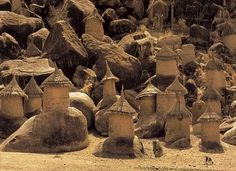 """'Nuba Dorf (Nuba Village)' from the """"Nuba"""" series by German photographer Leni Riefenstahl Dye transfer, edition of x in. via Fahey Klein Gallery Vernacular Architecture, Ancient Architecture, Art And Architecture, Out Of Africa, West Africa, Leni Riefenstahl, African House, Art Populaire, Art Africain"""