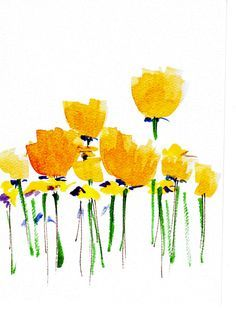 Handpainted Note Card Greeting Card Any occasion Blank Buttercup Yellow Poppy Wildflowers Floral Original Watercolor Gardening