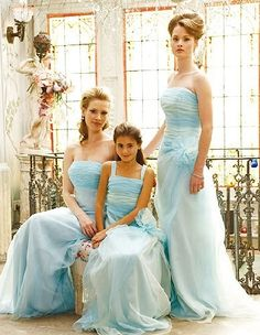 baby blue brides maid dresses- I like the flowu need, especially for a junior rides aid dress?