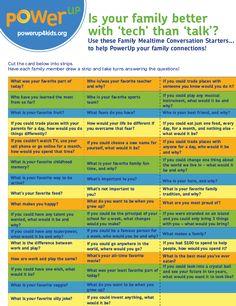 Mealtime Conversation Starters  http://www.powerup4kids.org/ConversationStarters#