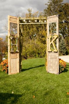 A wedding altar - you could then stage it in the backyard after the wedding or at the end of a porch.  Gorgeous!