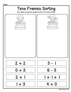 Sample page from:  NUMBER SENSE AND PROBLEM SOLVING USING TENS FRAMES  (40 pages to support children's learning, K-1)  $