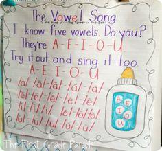 The First Grade Parade: Phonics Friday - The Short Vowel Edition Kindergarten Anchor Charts, Kindergarten Literacy, Teaching The Alphabet, Teaching Reading, Teaching Ideas, Preschool Alphabet, Preschool Songs, Learning Letters, Teaching Strategies