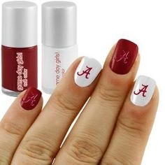 Alabama Crimson Tide Nail Polish Kit with Decals Alabama Football Nails, Alabama Nails, Ou Football, Football Snacks, College Football, Nail Polish Kits, Nail Polish Designs, Nail Art Designs, Polish Nails
