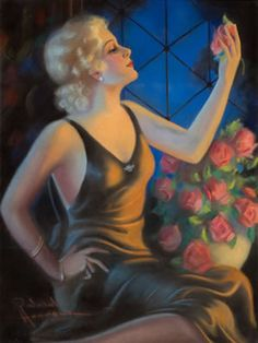 Pin-Up with Roses by Raymond Wilson Hammell Pin Up, Art Deco Posters, Artist Biography, Antique Paint, Art Auction, Bellisima, Art Pictures, Modern Art, Sculptures