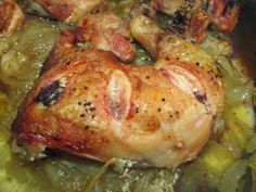 con2sabor: Pollo al horno con cebolla y cerveza