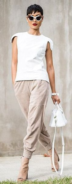 Nude And White Leather On Leather Cool Outfit                                                                             Source