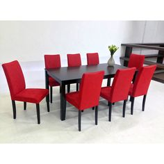 Update your dining area with this stylish, modern table with chairs covered in refined and easy-to-care-for red microfiber fabric. The oak construction and roomy dimensions of the table ensure you can serve your guests in style.