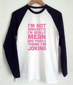 i'm not sarcastic raglan tshirt #clothing