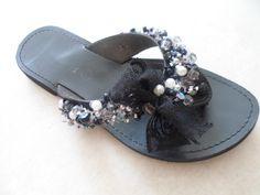 black handmade leather sandal by ellishoes.blogspot.com