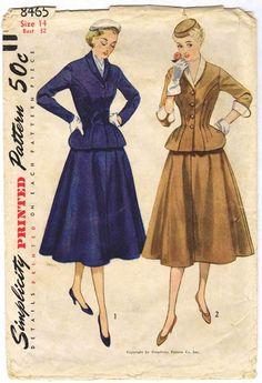 """Simplicity 8465. 1951 Jacket and Skirt. Bust 32"""". Original. Complete."""