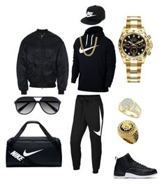 What time we leaving by tikitress on Polyvore featuring NIKE, Balenciaga, Rolex, Ace, men's fashion and menswear
