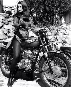 """""""I wonder why it is, that young men are always cautioned against bad girls. Anyone can handle a bad girl. It's the good girls men should be warned against."""" — David Niven, British actor born this date in 1910   In this picture: Ann Margret on 1966 Triumph T100C   #manoftheworld #motw #issue7 #triumph #triumphbonneville #stevemcqueen #mcqueen #davidniven #british #annmargret #badgirls #hollywood #vintagemotocycles #triumphuk #triumphusa #motorcycleculture #rideabike"""