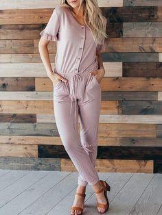 f3f449dc1b0 Comfy Short Sleeve Jumpsuit. Casual JumpsuitJumpsuit OutfitComfy  ShortsWoman OutfitsStylish ...