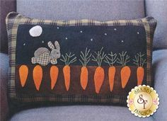 McGreggor's Garden Wool applique pillow pattern by Norma Whaley Wool Applique Patterns, Applique Pillows, Felt Applique, Applique Quilts, Quilt Patterns, Quilt Pillow, Pillow Patterns, Penny Rugs, Felted Wool Crafts