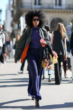 30 Style Hacks To Up Your Game In 2016  #refinery29  http://www.refinery29.com/style-anti-resolutions-2016#slide-6  You might have heard that wide-legged bottoms call for a slimmer silhouette on top, but a voluminous bomber is just so much cooler....