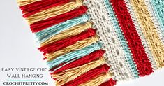 Are you wanting to add some BRIGHT and FUN to your home? Come check this FREE & EASY Vintage-Chic crochet wall hanging pattern out! Crochet Wall Art, Crochet Wall Hangings, Crochet Home, Free Crochet, Knit Crochet, Crochet Stitches, Crochet Patterns, Woven Wall Hanging, Wall Patterns