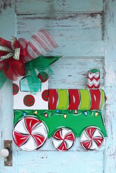 Christmas Train Christmas Door Hanger by Christmas Yard Art, Christmas Train, Christmas Wood, Christmas Signs, Christmas Tree Decorations, Christmas Time, Xmas, Canvas Door Hanger, Burlap Door Hangers