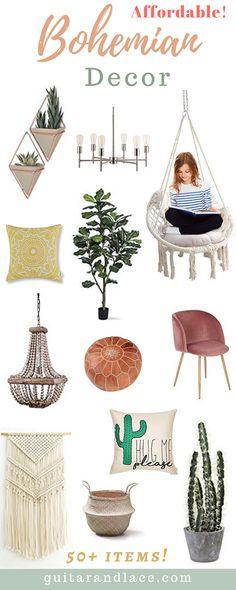 Here are some incredibly affordable pieces I've found!Boho decor, bohemian decor, boho chic, boho living room, boho bedroom, faux cactus, affordable