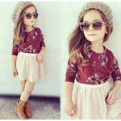 Cutey with pretty dress YES ?  FOLLOW @gethotfashion  for latest fashion