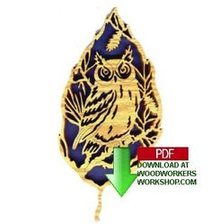 48-FL103 - Owl Forest Leaf Plaque Downloadable Scrollsaw Pattern PDF