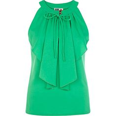river island <3 Green Chelsea Girl frill front sleeveless top £22.00
