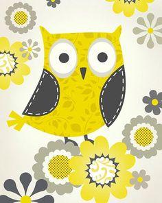 yellow owl - print & pattern - Steve Haskamp