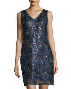 Julia Jordan Lace and Sequin Sheath Dress, Navy, Women's, Size: 12 ...