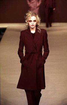 Red trench coat Martine Sitbon - Ready-to-Wear - Runway Collection - WomenFall / Winter 1996