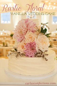 Rustic Floral Vanilla Wedding Cake   Carla's Confections